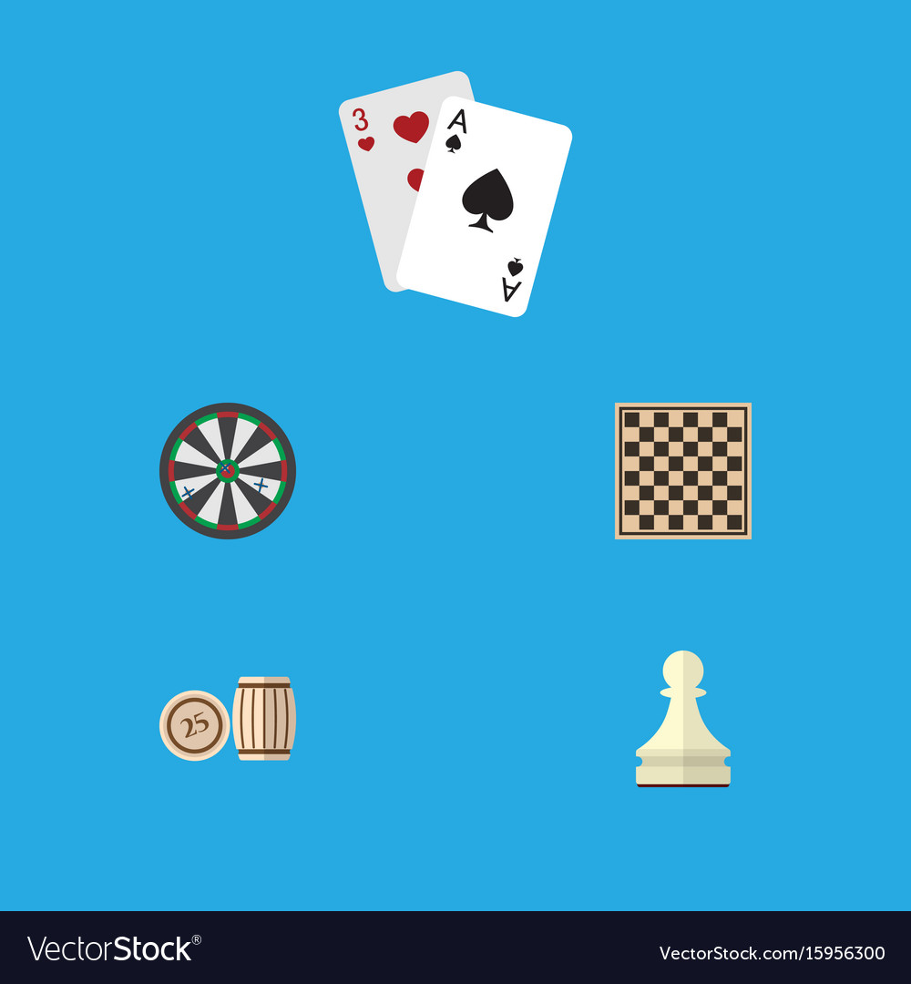 Flat icon entertainment set of chess table vector image
