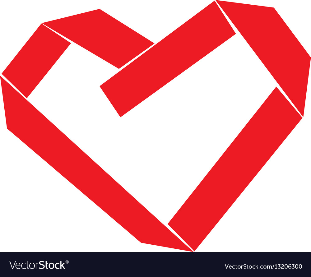 Paper strip folded as heart sign vector image