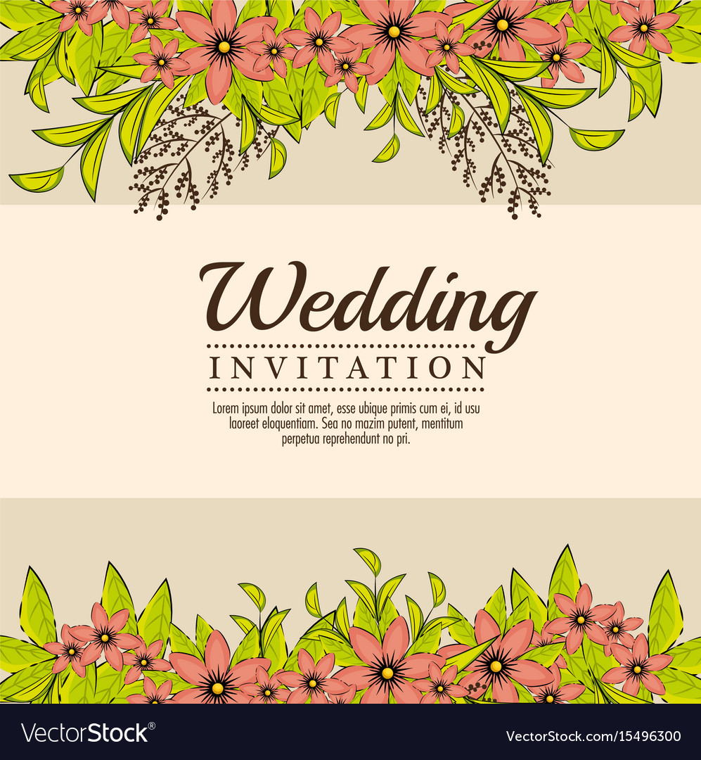 Vintage wedding invitation with floral elements vector image vintage wedding invitation with floral elements vector image stopboris Image collections