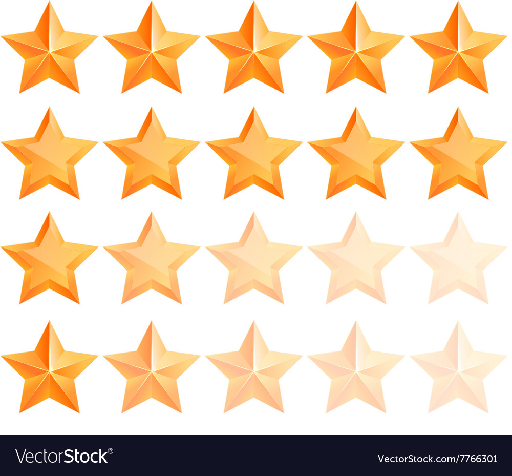 Golden 3d star premium Set The best reward vector image