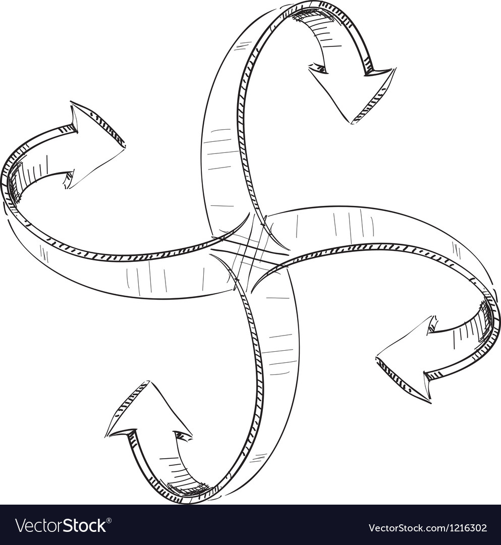 Arrows around center vector image