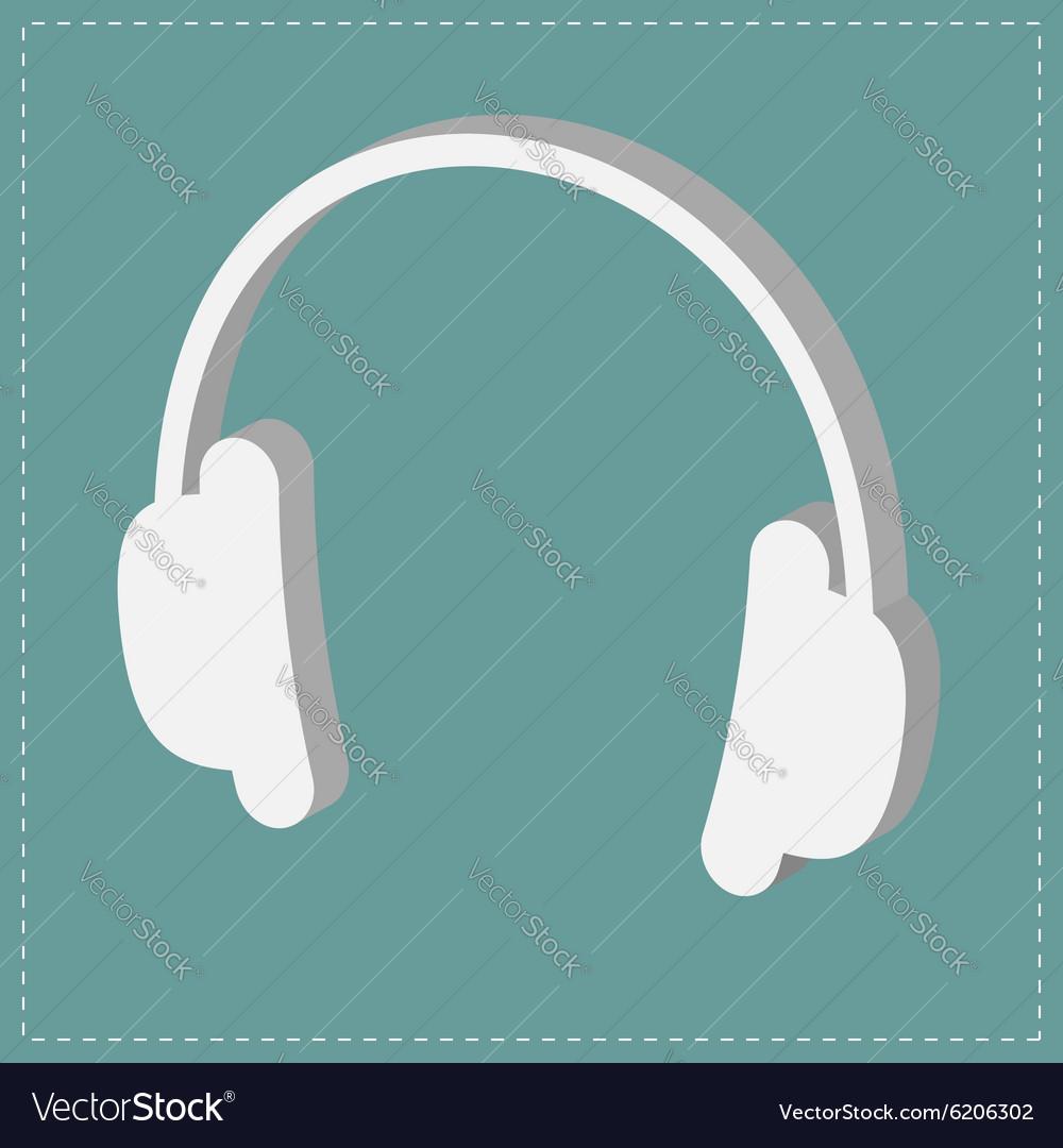 White headphones icon Isometric effect Dash line vector image