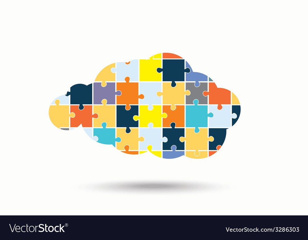 Abstract cloud of puzzle pieces vector image