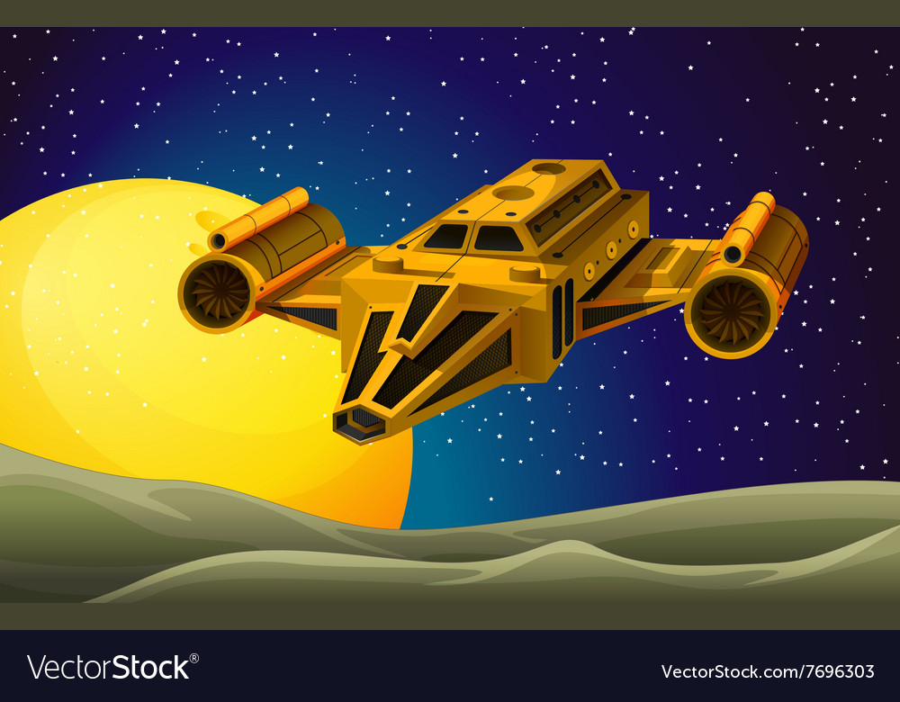 Spaceship flying in the space vector image