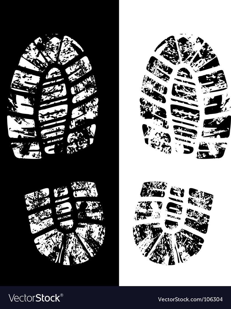 Grungy footprint vector image