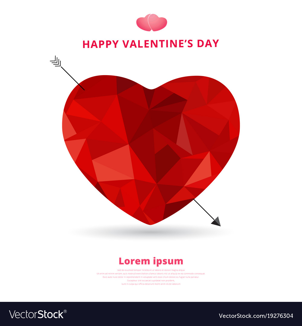 3d origami heart low polygon design with arrow vector image jeuxipadfo Gallery