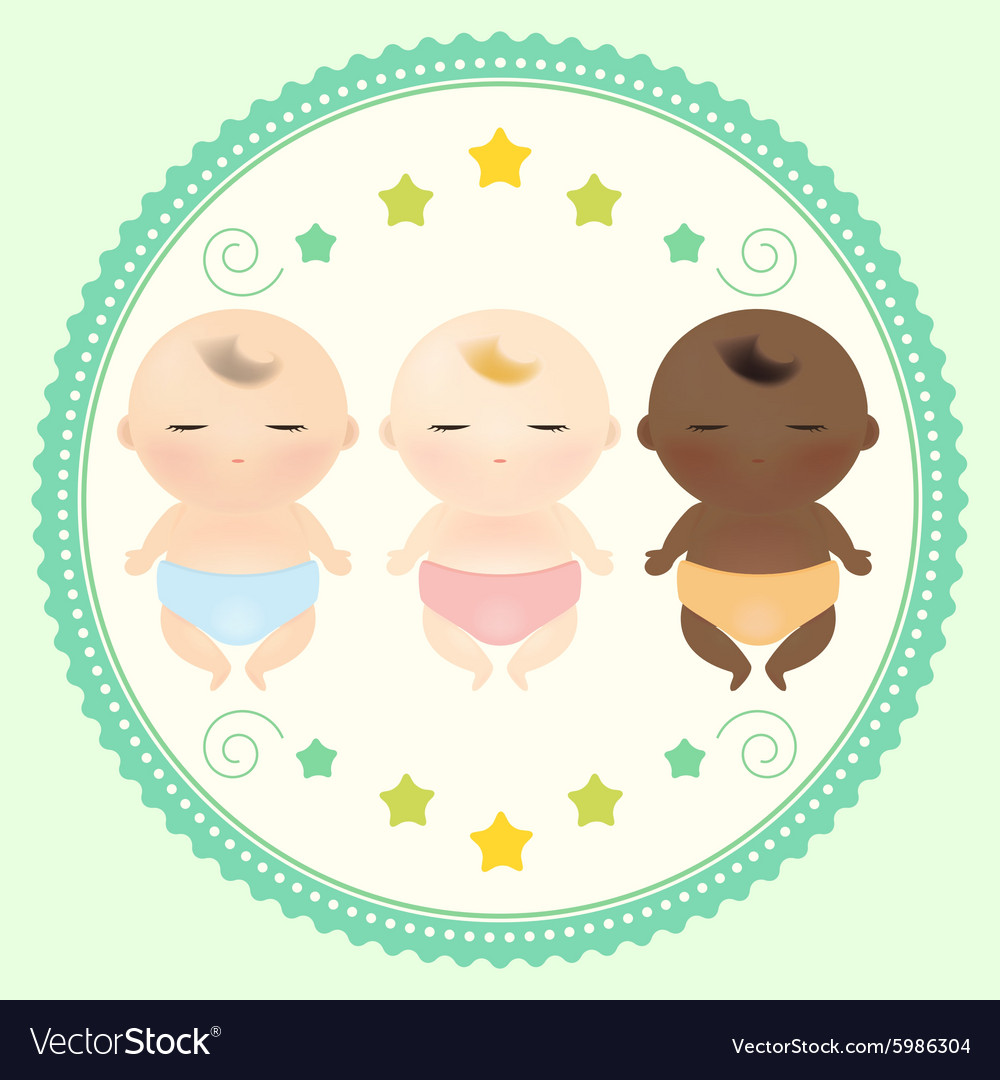 Multicultural babies sleeping vector image