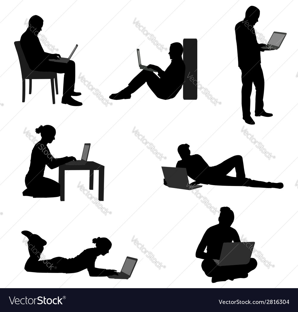 People with laptops vector image