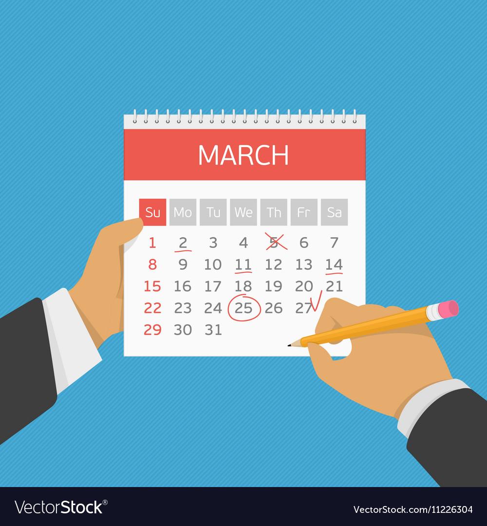 Planning calendar in hand vector image