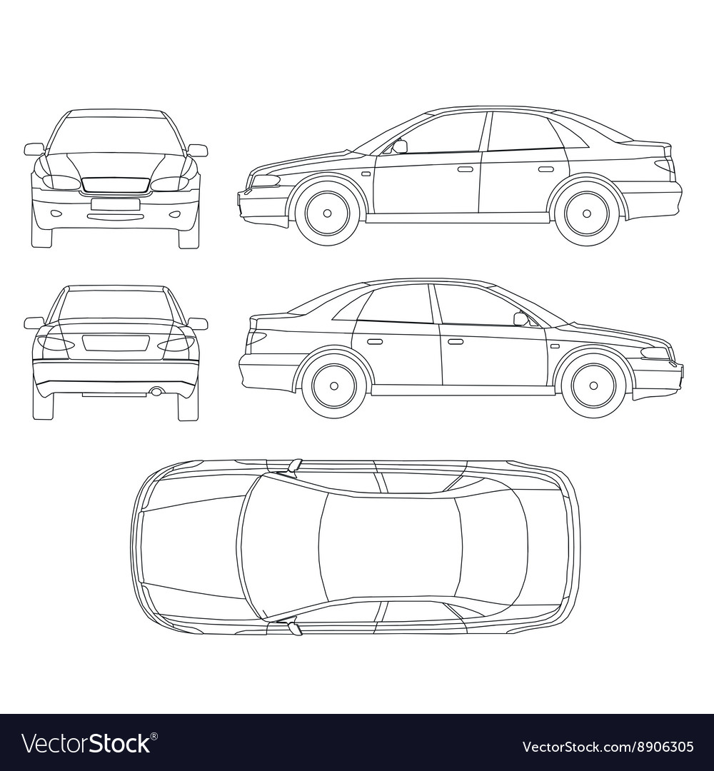 Car line draw insurance rent damage condition Vector Image