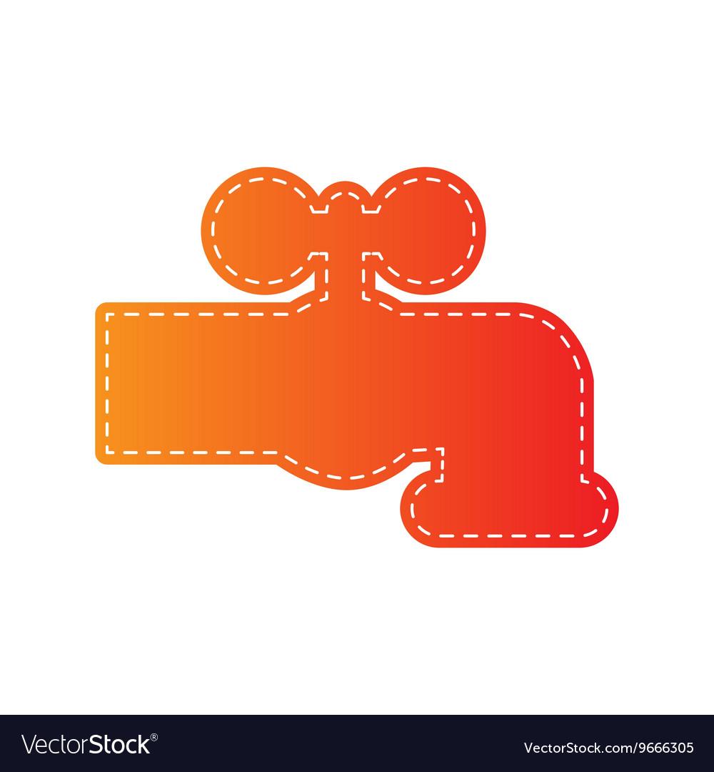 Water faucet sign Orange applique Royalty Free Vector Image