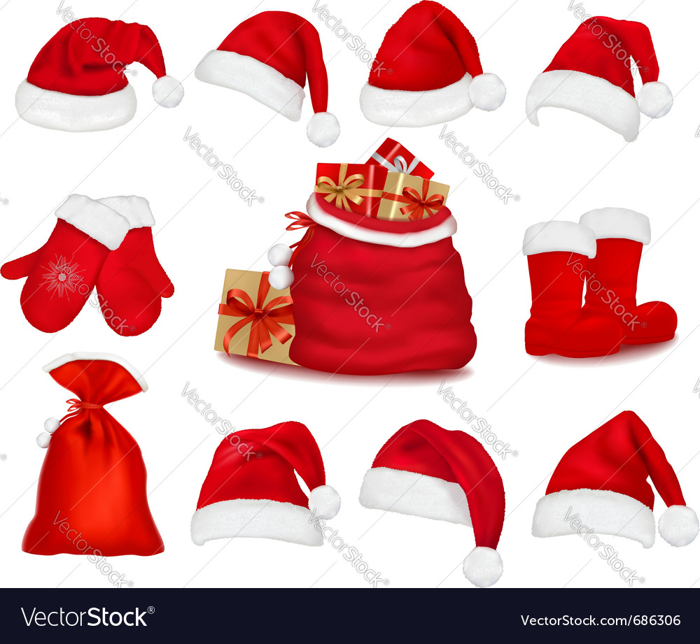 Red santa hats vector image