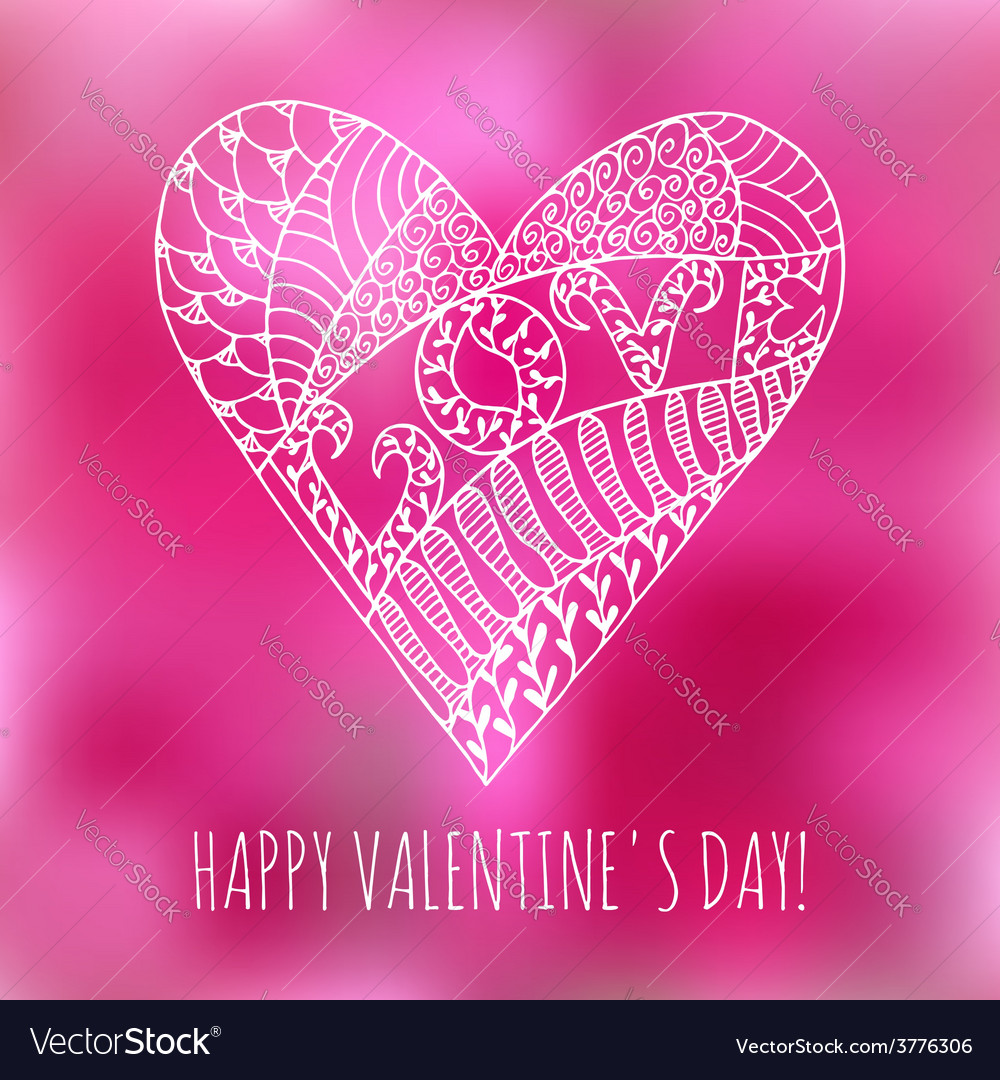 Greeting card with hand drawn doodle heart vector image