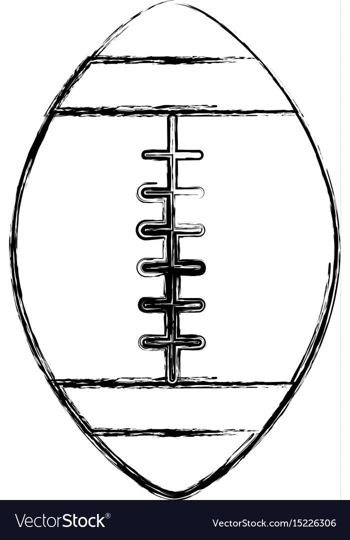 Sketch draw american football ball cartoon vector image