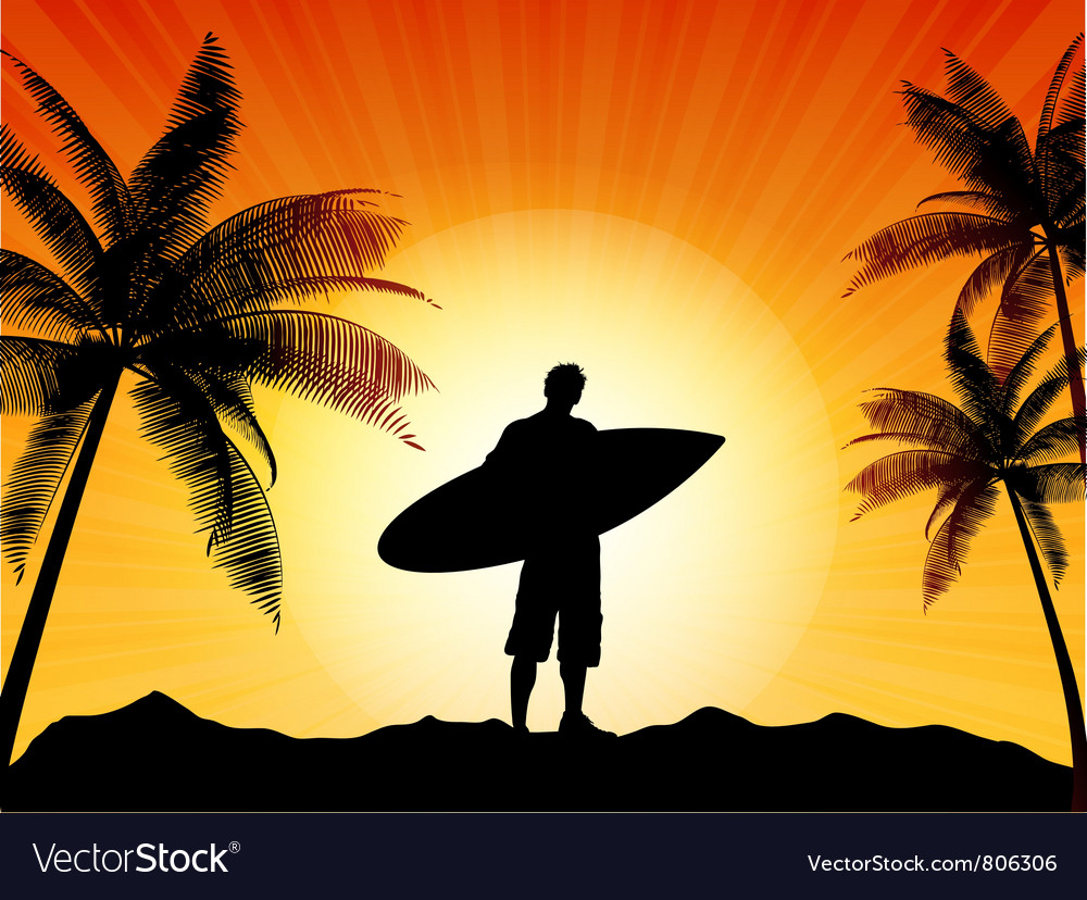Surfer silhouette vector image