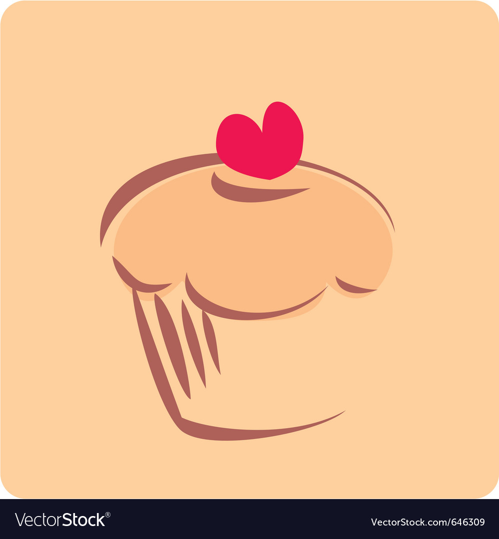 Retro cupcake silhouette with heart vector image