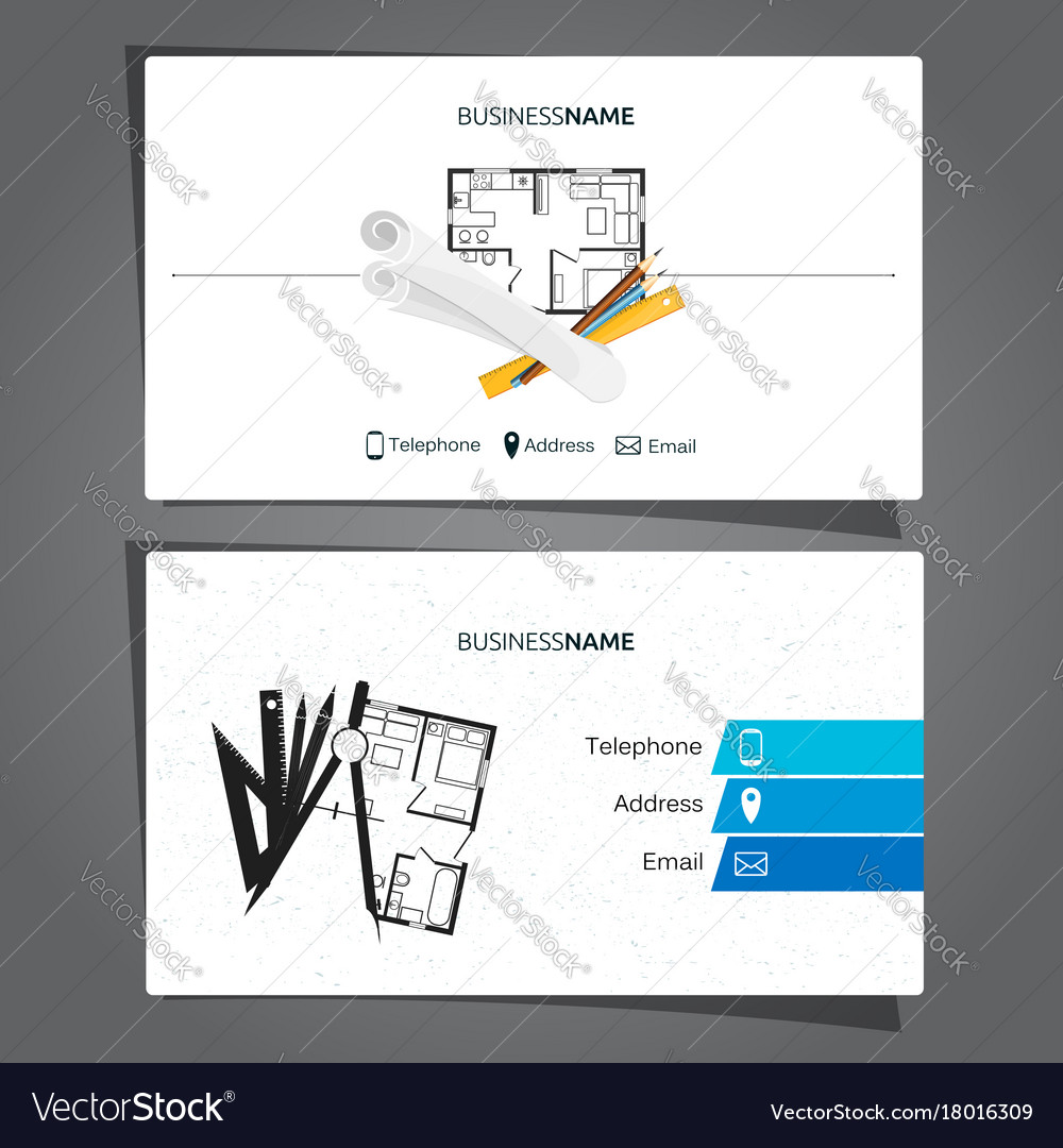 Architecture and construction business card vector image reheart Images
