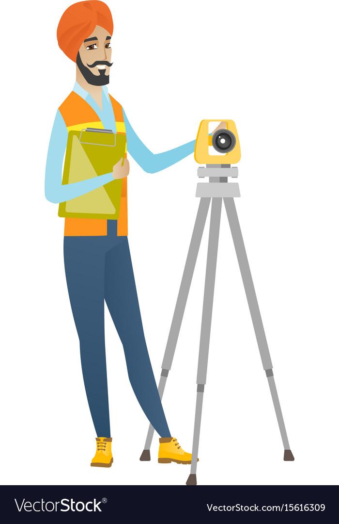 Hindu surveyor builder working with theodolite vector image