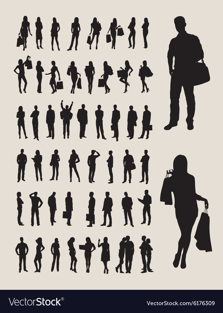 People Standing Silhouettes vector image