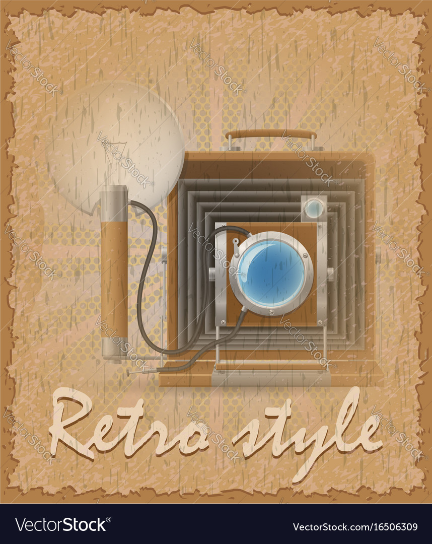 Retro style poster old camera photo vector image
