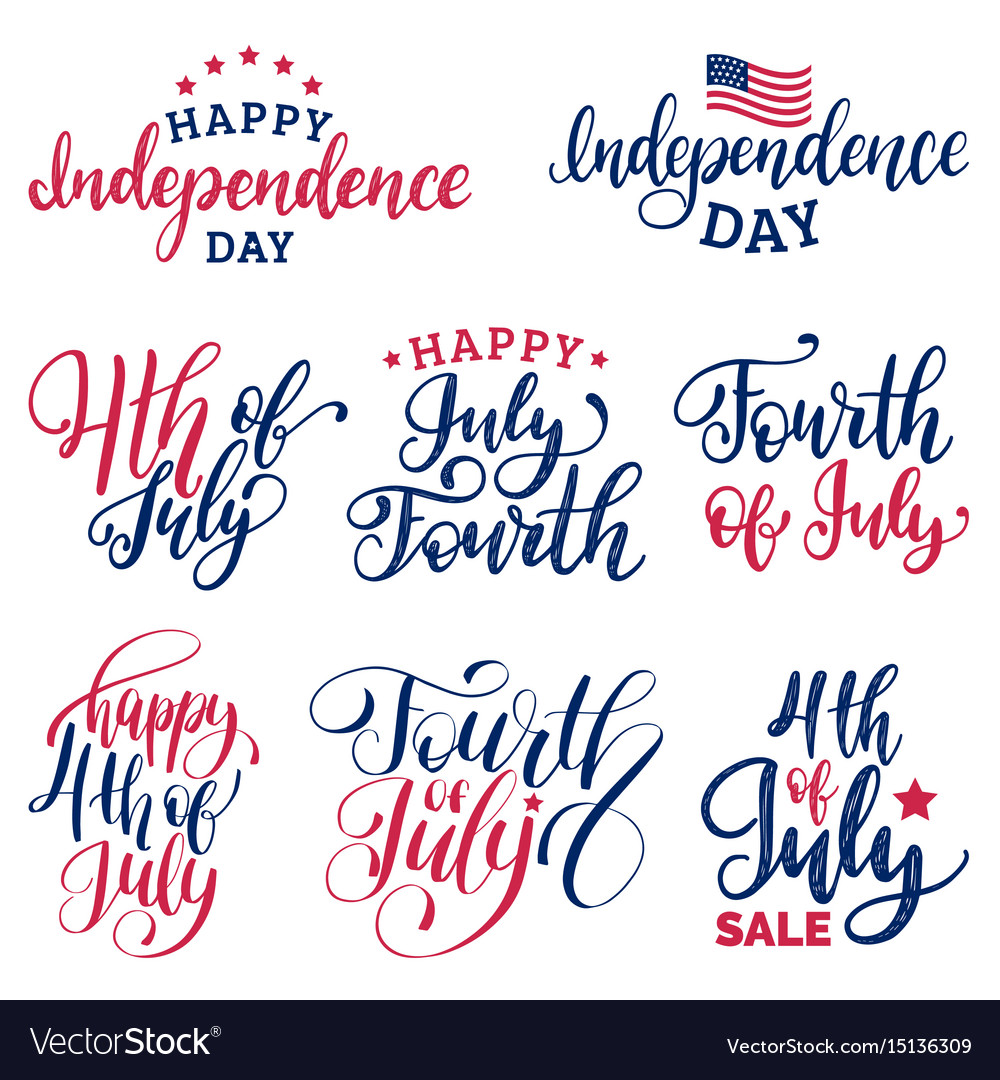 Set fourth of july hand lettering vector image