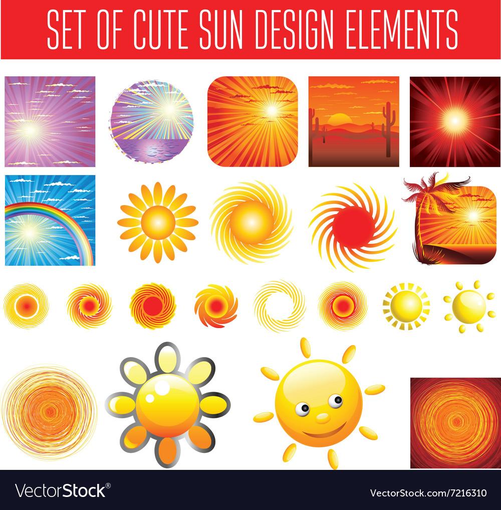BIG set shiny sun vector image
