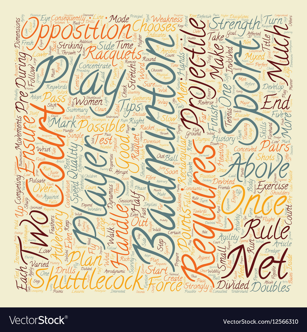 Some Tips For Badminton text background wordcloud vector image