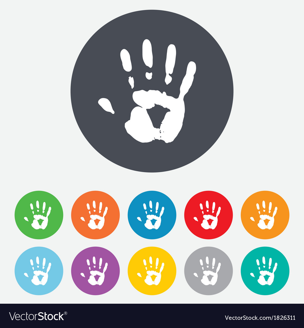 Hand print sign icon Stop symbol vector image