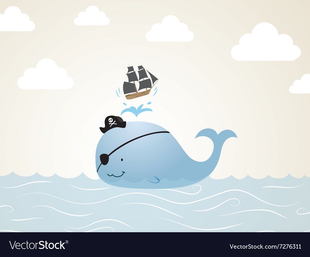 pirate whale cartoon royalty free vector image