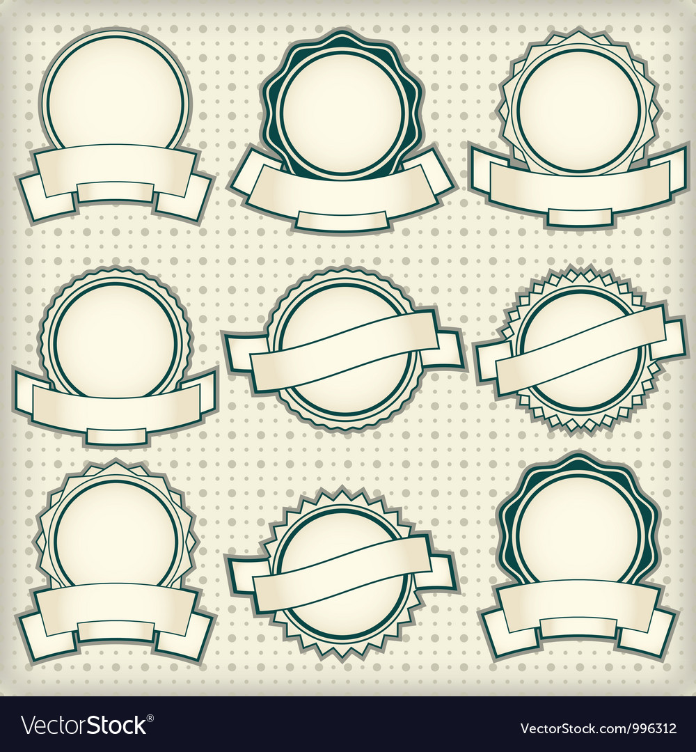 Vintage labels with blank banners Royalty Free Vector Image