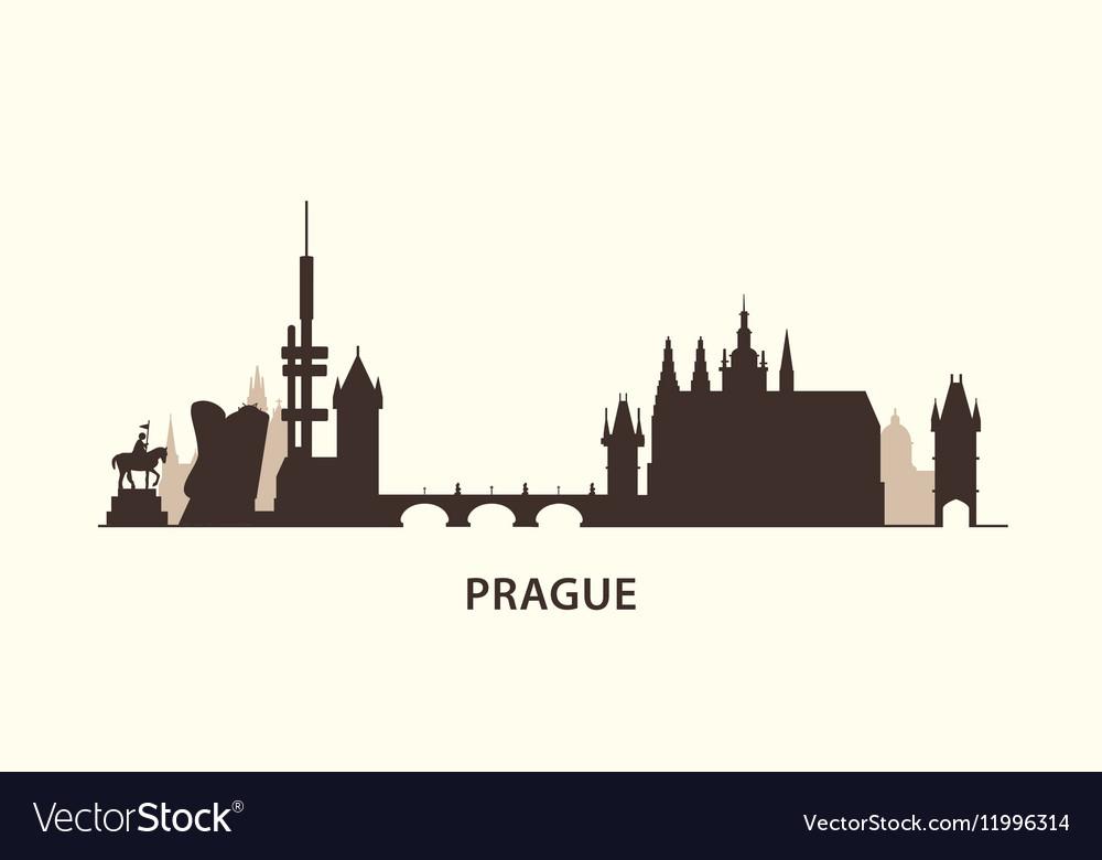 Prague skyline silhouette vector image