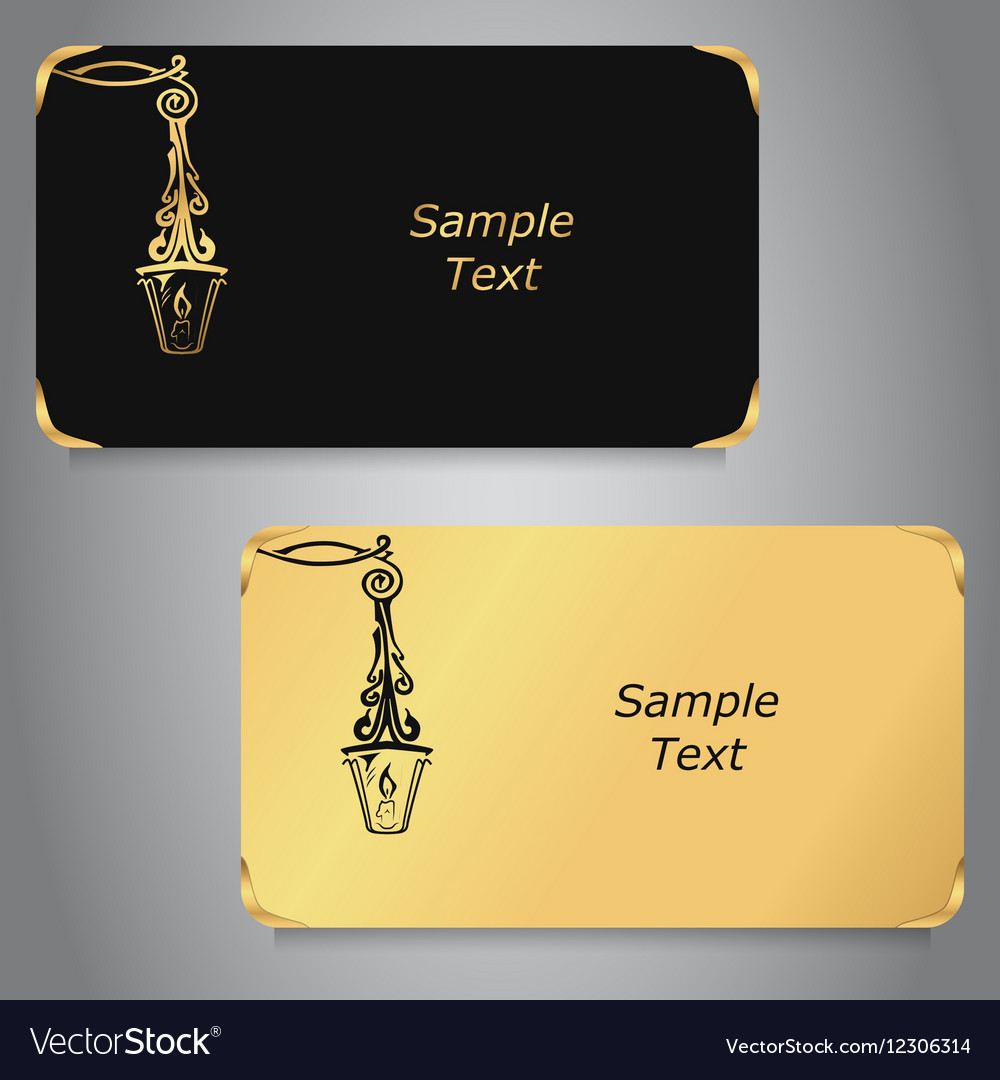 Two business cards black and gold colors with Vector Image