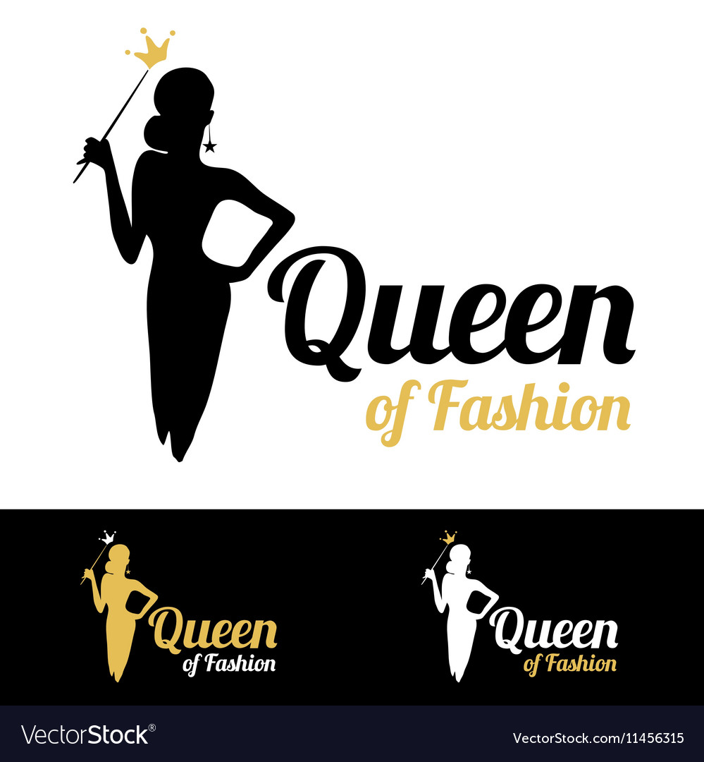 Queen of Fashion logo design vector image