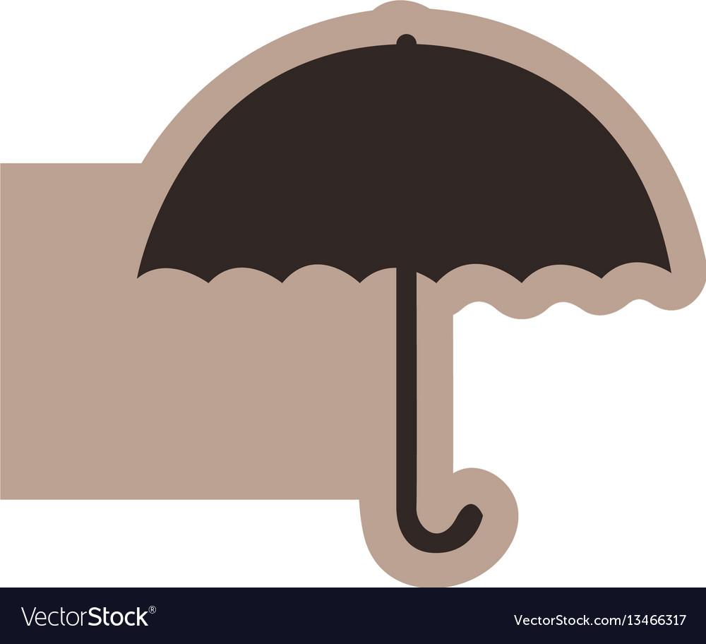 Brown emblem sticker umbrella icon vector image