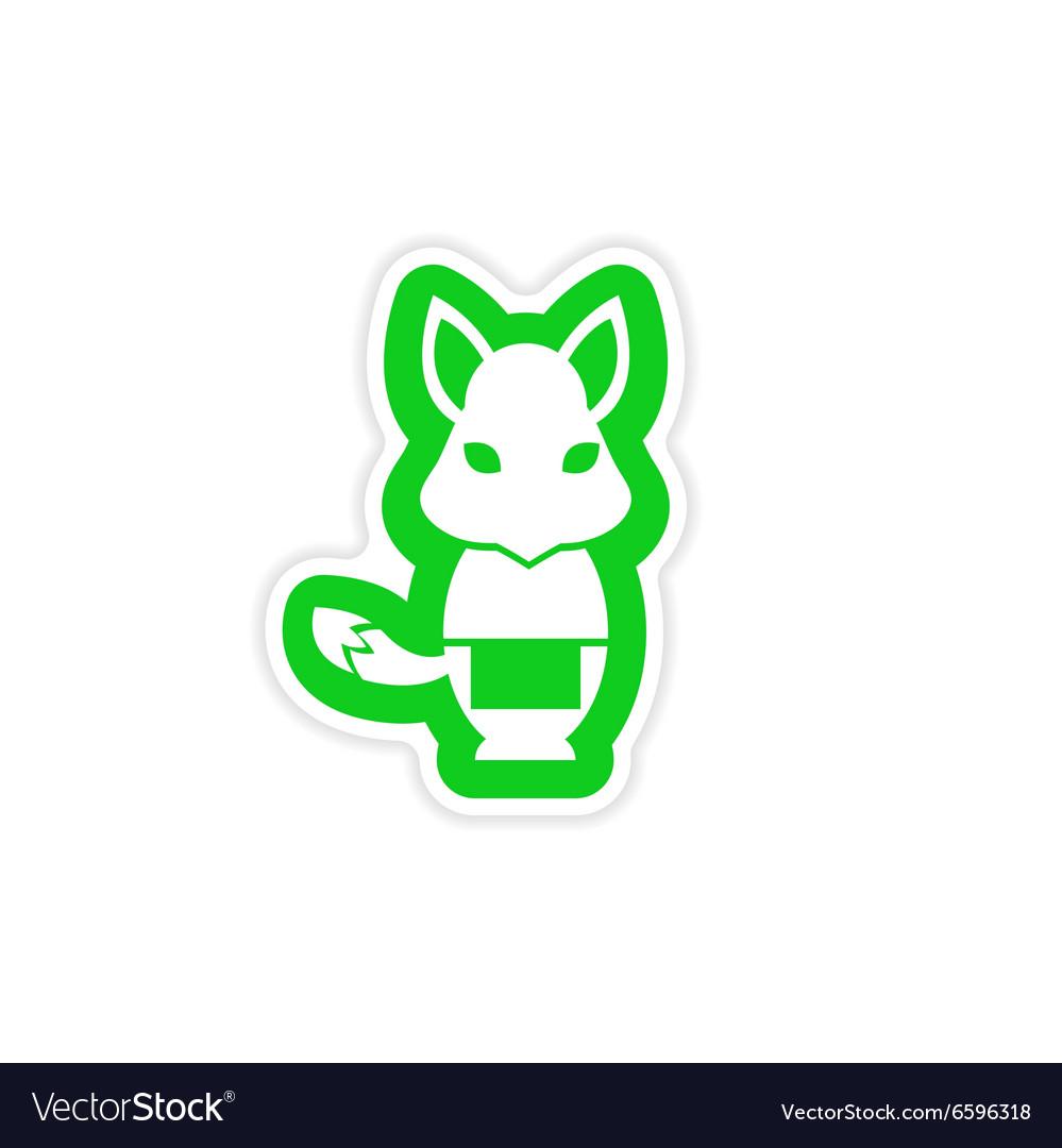 Stylish paper sticker on white background fox