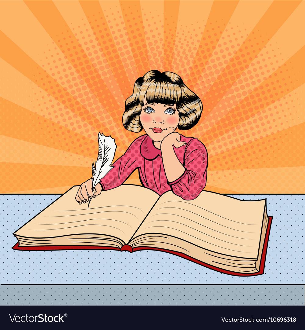 Pop Art Little Girl Writing in Big Book vector image