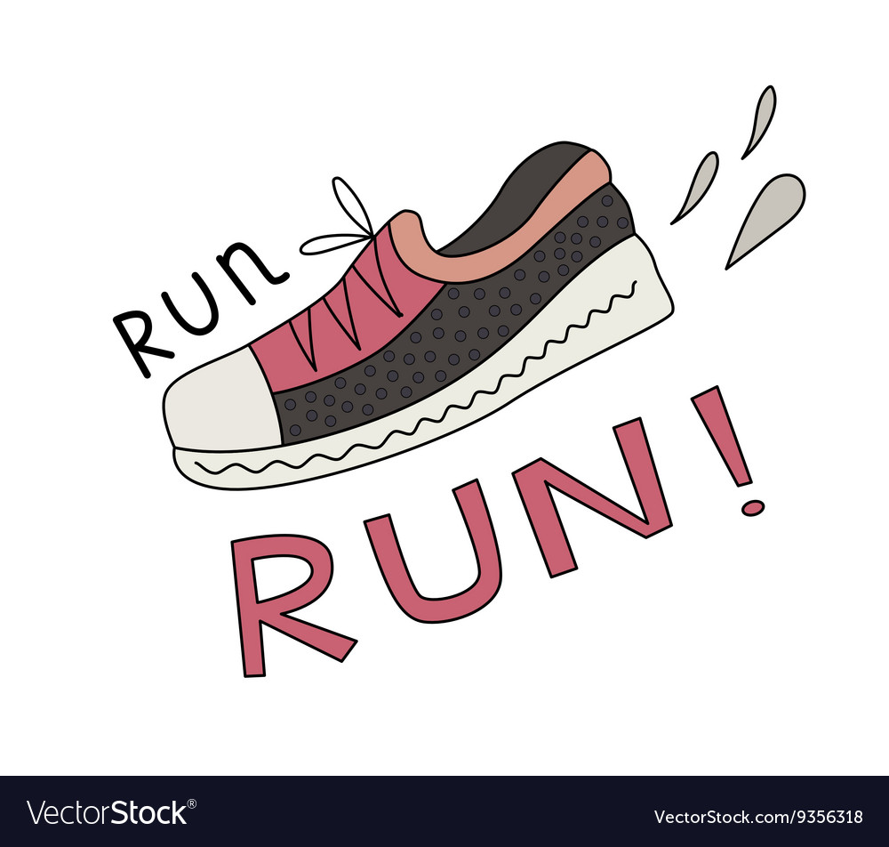 Sneaker and Run lettering vector image