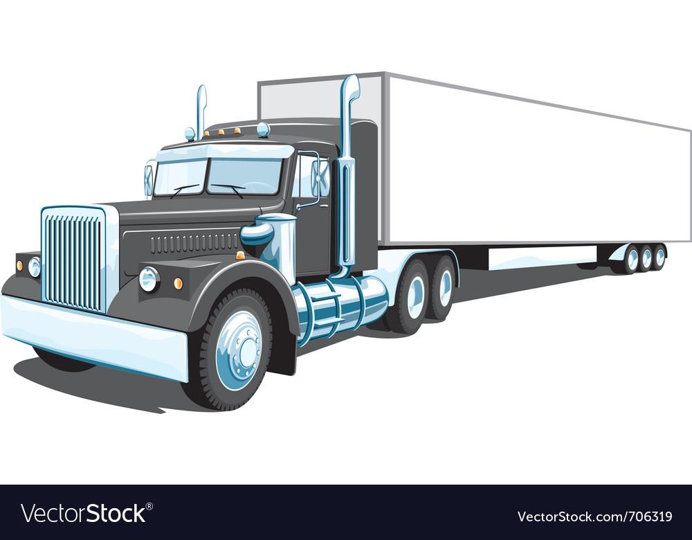 Black semi truck vector image