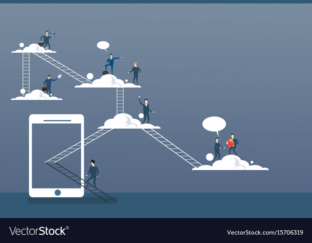 Business people group on clouds connection vector image