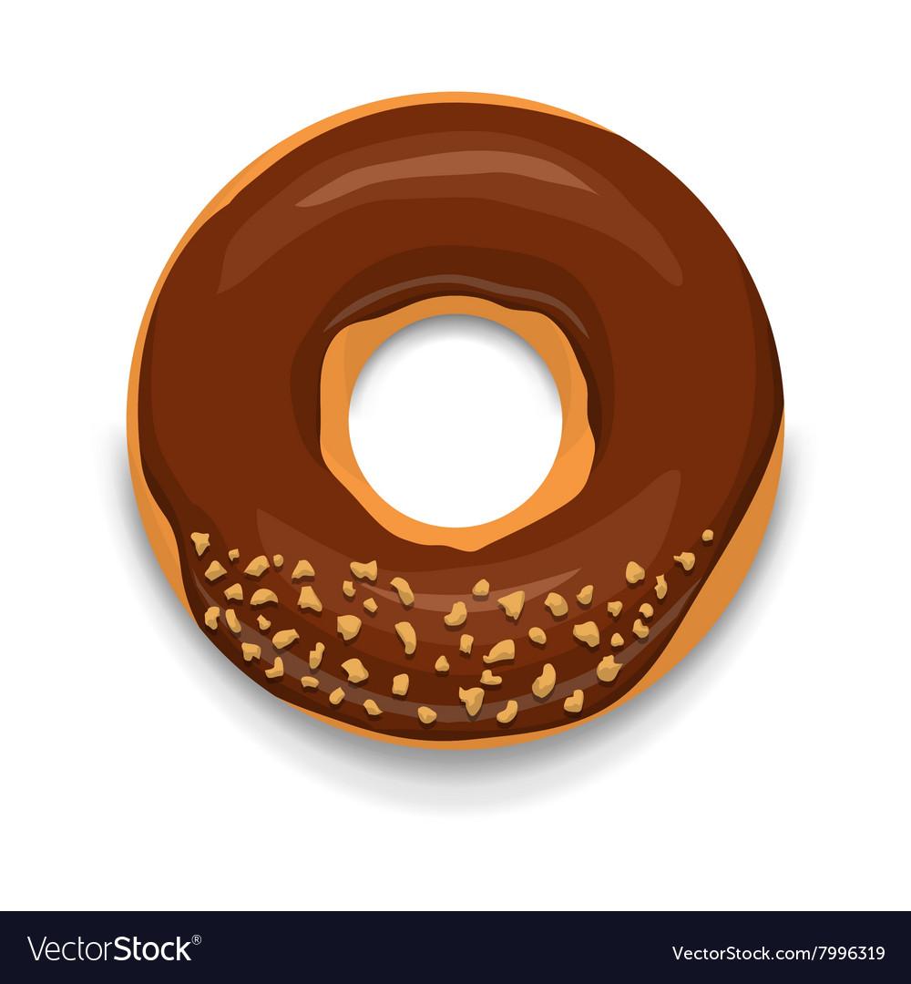 Chocolate donut icon cartoon style vector image