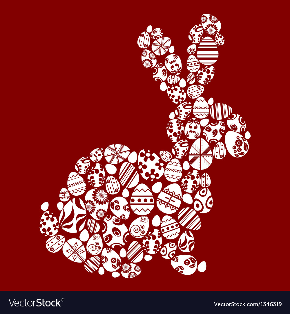 Rabbit made from small egg symbols vector image