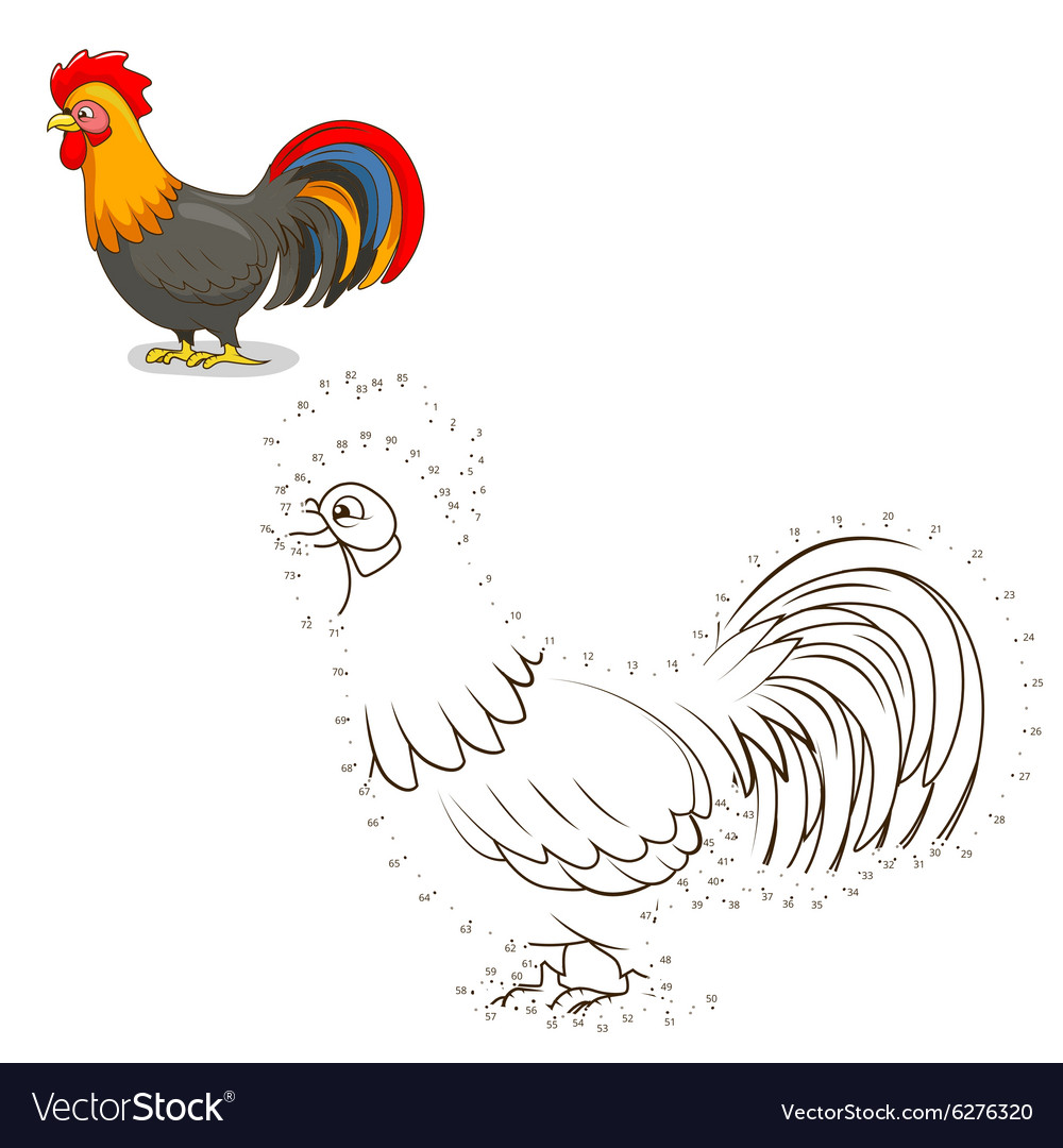 connect the dots game rooster royalty free vector image