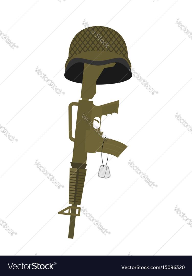 Grave soldier helmet and gun instead of cross vector image