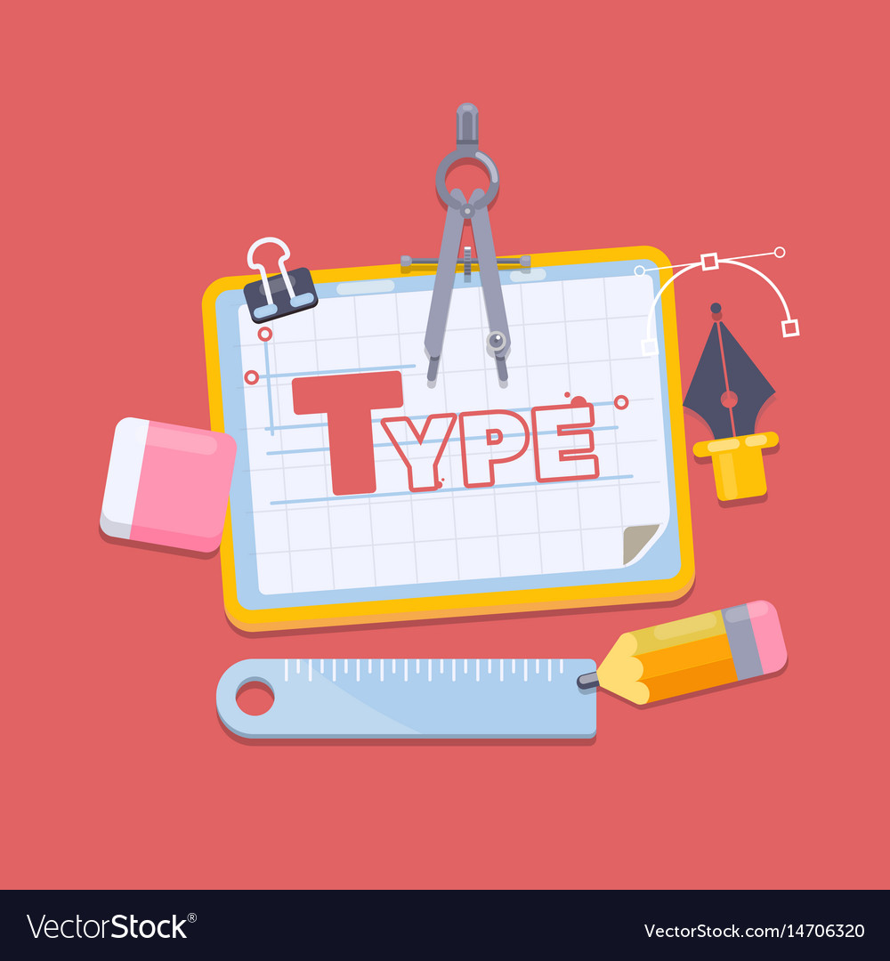Workplace of a designer flat design style modern vector image