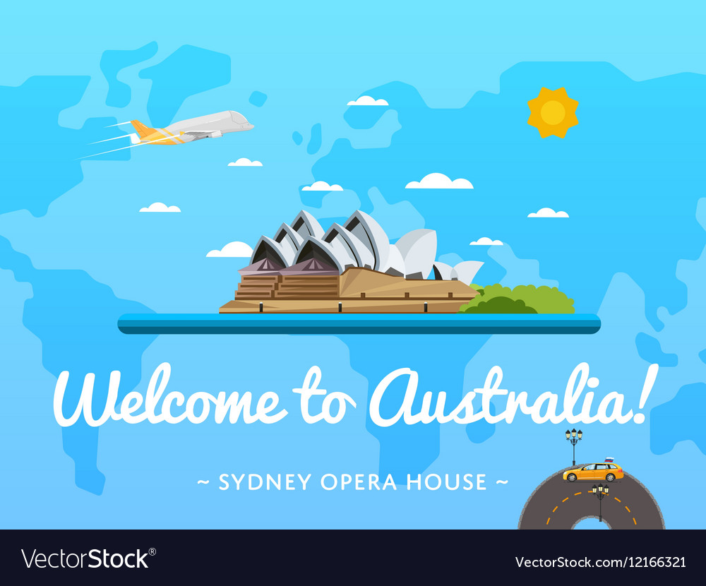 Welcome to Australia poster with famous attraction vector image