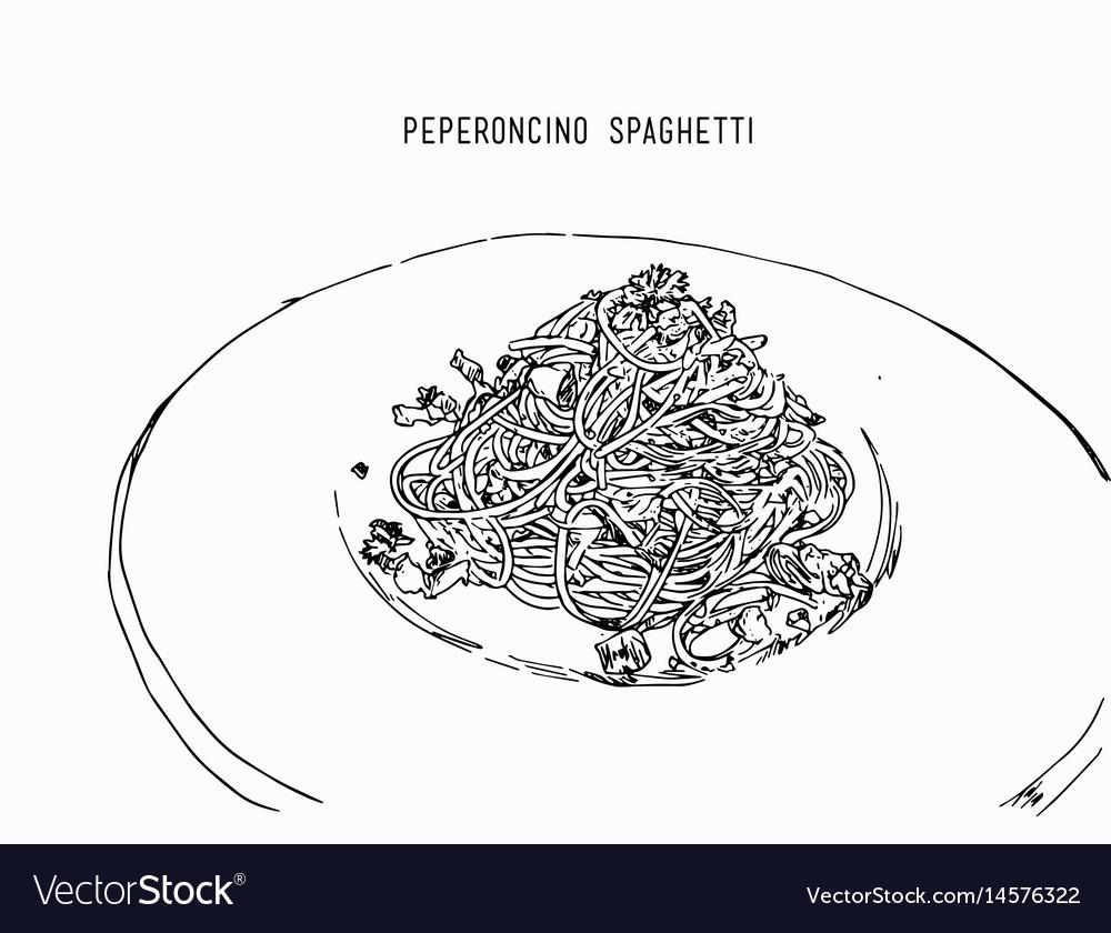 Peperoncino spaghetti hand drawn sketch water vector image