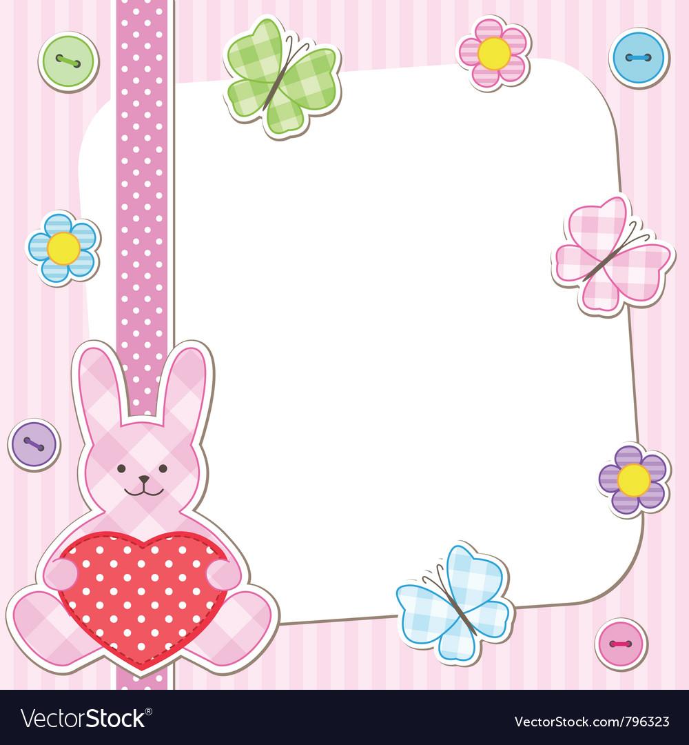 Pink rabbits cards vector image