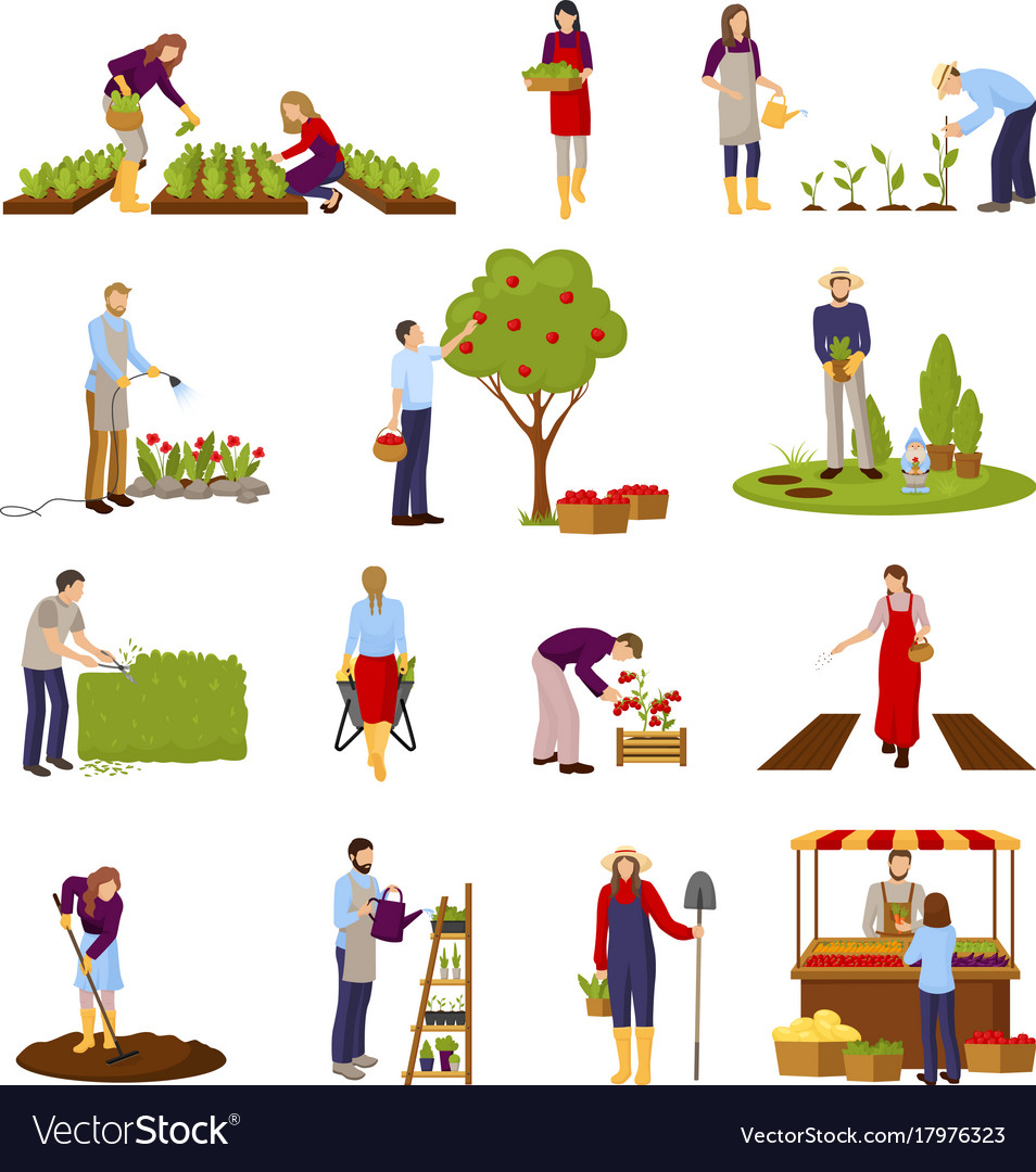 People and horticulture set vector image