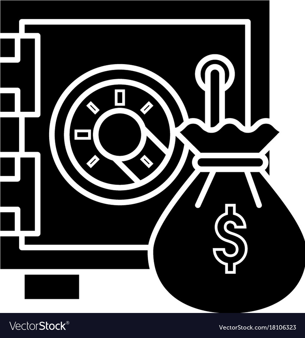 Safe bank with money bag icon vector image