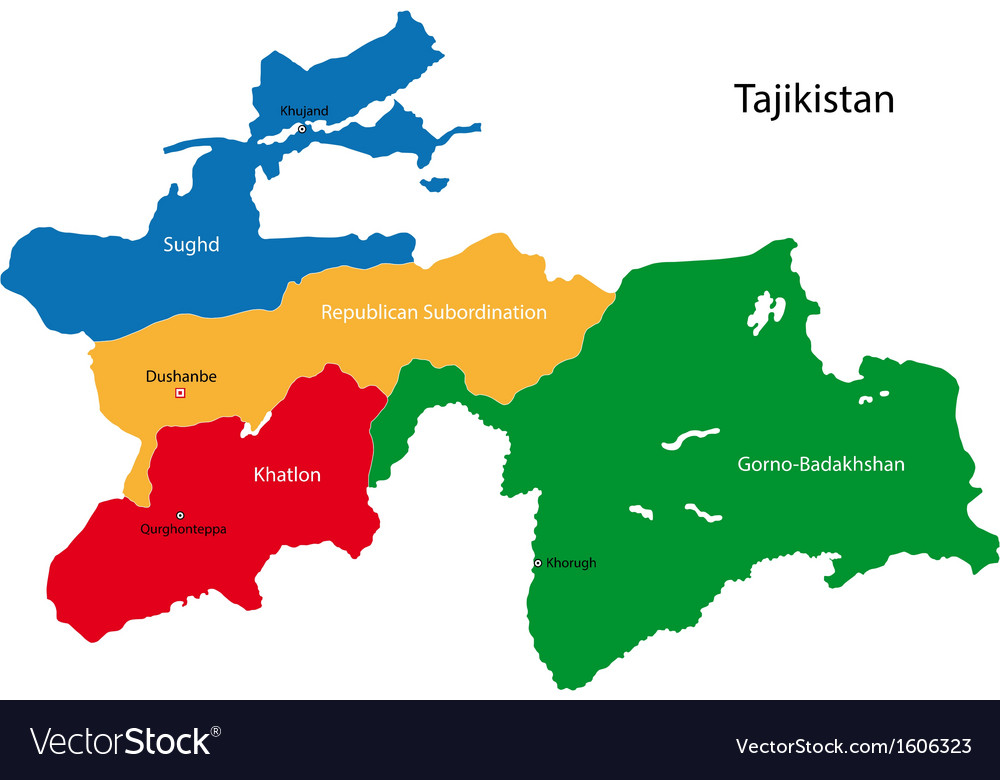 Tajikistan Map Royalty Free Vector Image VectorStock - Tajikistan map vector